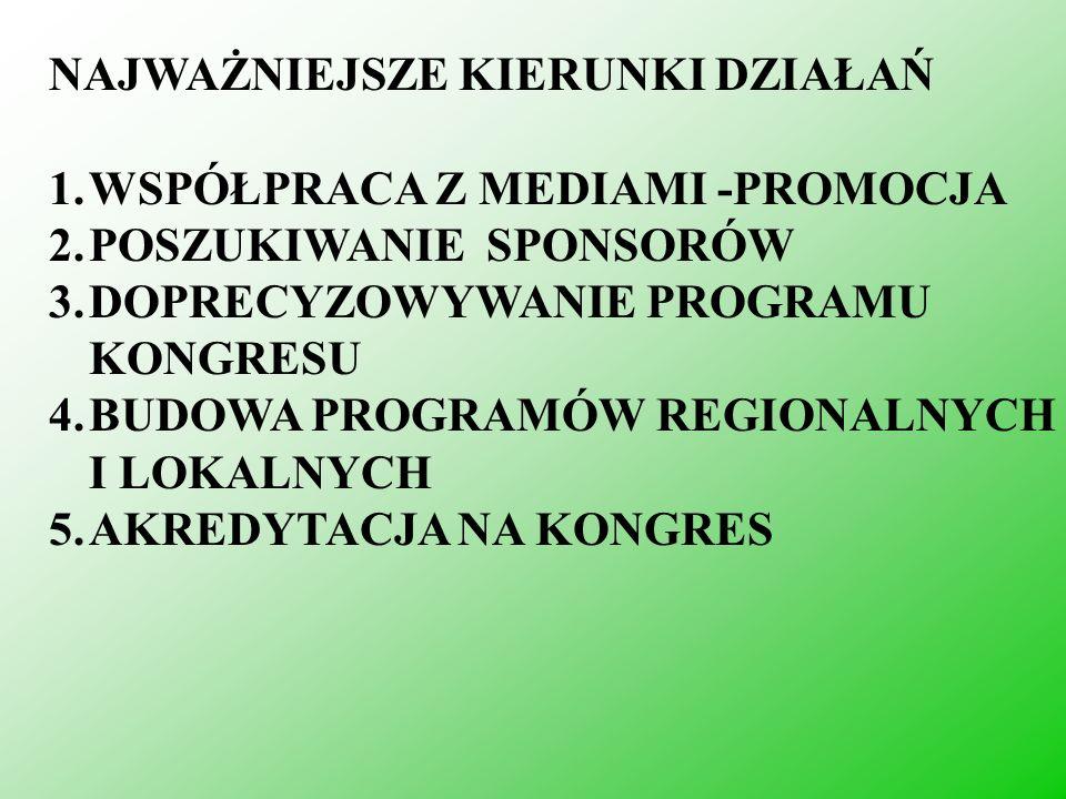 NAJWAŻNIEJSZE KIERUNKI DZIAŁAŃ 1.WSPÓŁPRACA Z MEDIAMI -PROMOCJA 2.POSZUKIWANIE SPONSORÓW 3.DOPRECYZOWYWANIE PROGRAMU KONGRESU 4.BUDOWA PROGRAMÓW REGIO