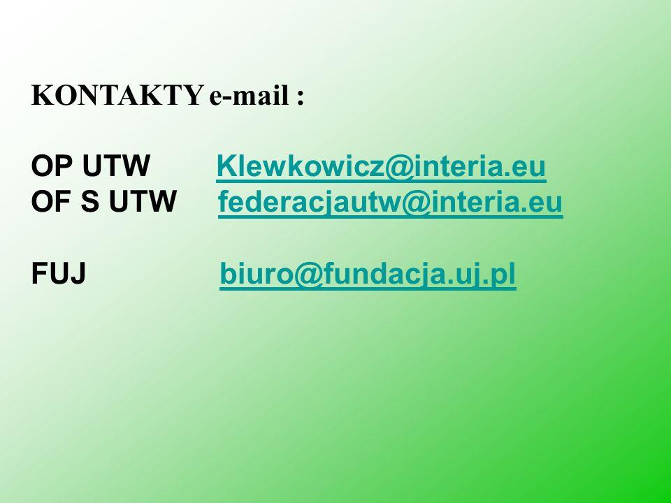 KONTAKTY e-mail : OP UTW Klewkowicz@interia.euKlewkowicz@interia.eu OF S UTW federacjautw@interia.eufederacjautw@interia.eu FUJ biuro@fundacja.uj.plbi