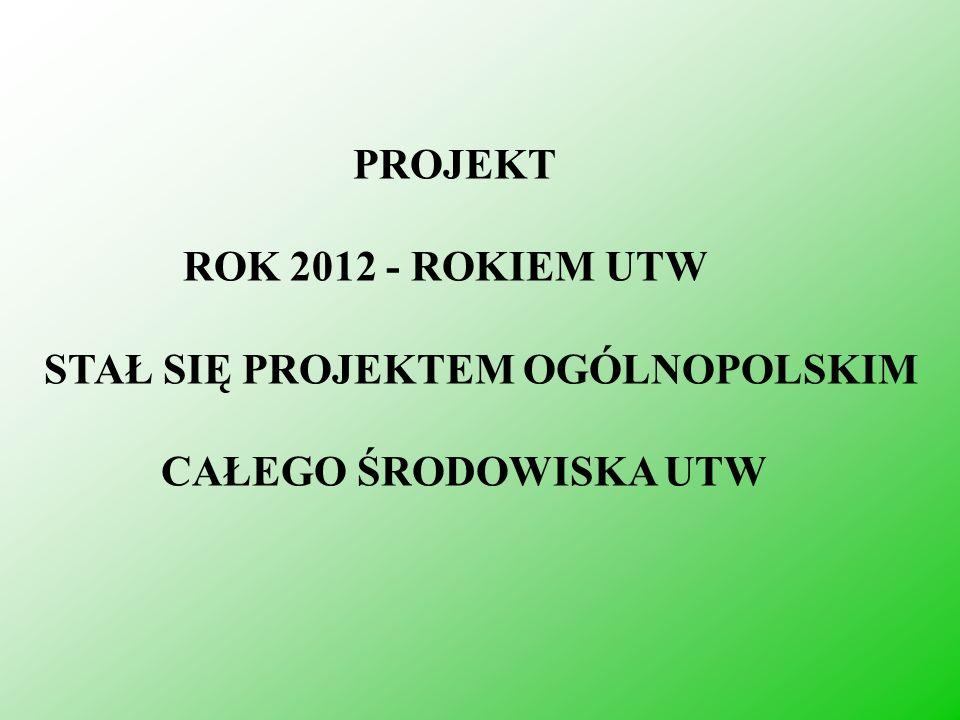 PROJEKT ROK 2012 - ROKIEM UTW STAŁ SIĘ PROJEKTEM OGÓLNOPOLSKIM CAŁEGO ŚRODOWISKA UTW