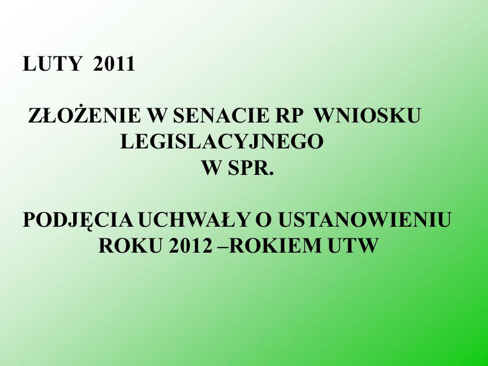 LUTY 2011 ZŁOŻENIE W SENACIE RP WNIOSKU LEGISLACYJNEGO W SPR. PODJĘCIA UCHWAŁY O USTANOWIENIU ROKU 2012 –ROKIEM UTW