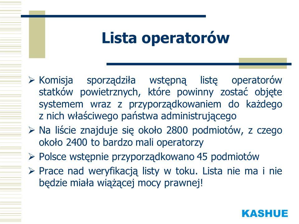 Lista operatorów Komisja sporządziła wstępną listę operatorów statków powietrznych, które powinny zostać objęte systemem wraz z przyporządkowaniem do