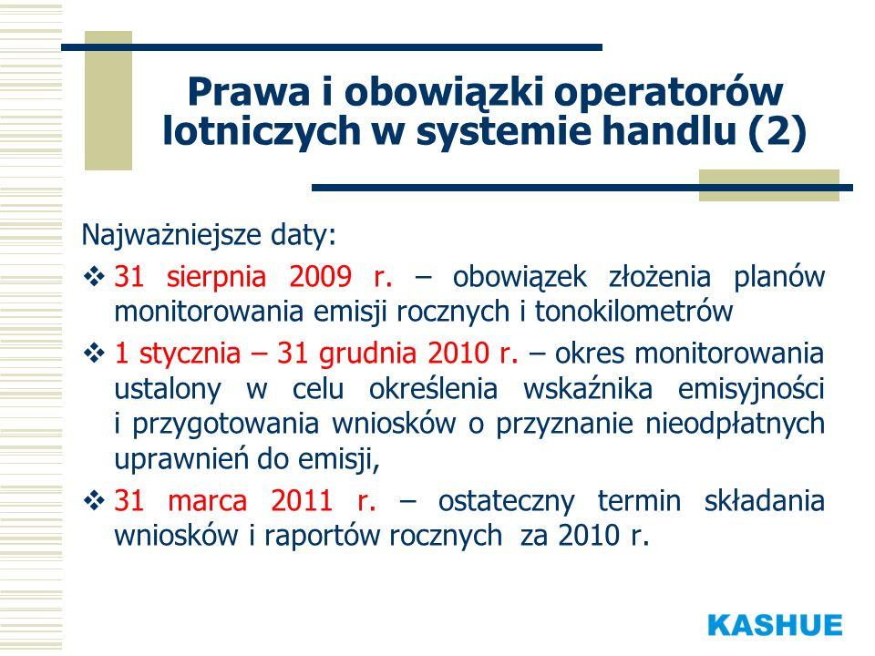 Prawa i obowiązki operatorów lotniczych w systemie handlu (2) Najważniejsze daty: 31 sierpnia 2009 r. – obowiązek złożenia planów monitorowania emisji