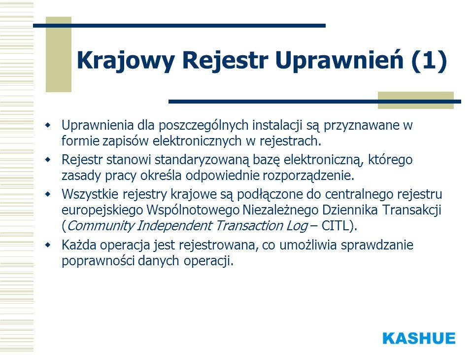 Krajowy Rejestr Uprawnień (1) Uprawnienia dla poszczególnych instalacji są przyznawane w formie zapisów elektronicznych w rejestrach. Rejestr stanowi