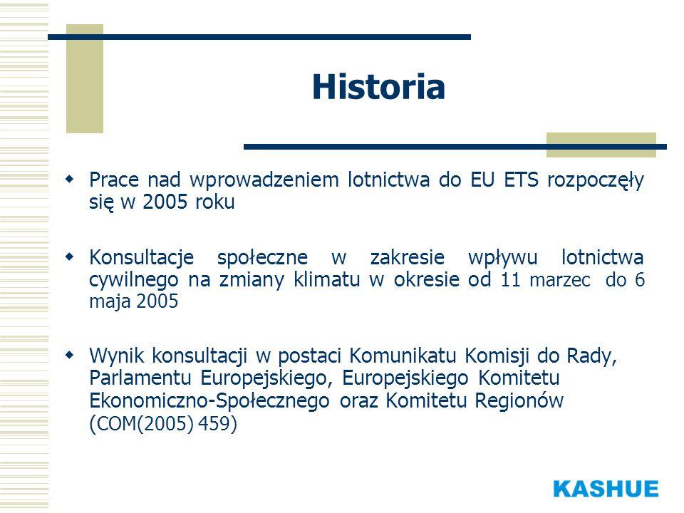 Historia Prace nad wprowadzeniem lotnictwa do EU ETS rozpoczęły się w 2005 roku Konsultacje społeczne w zakresie wpływu lotnictwa cywilnego na zmiany