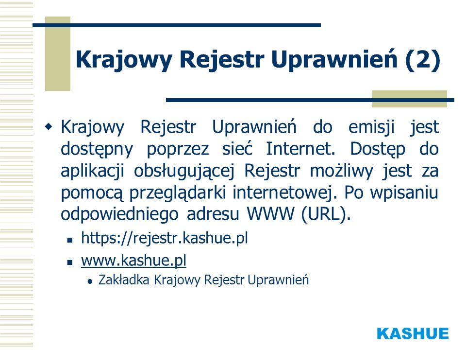 Krajowy Rejestr Uprawnień (2) Krajowy Rejestr Uprawnień do emisji jest dostępny poprzez sieć Internet. Dostęp do aplikacji obsługującej Rejestr możliw