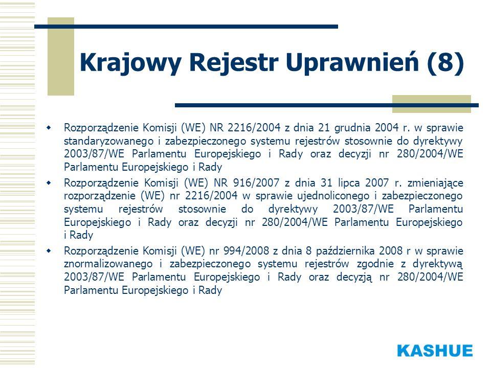 Krajowy Rejestr Uprawnień (8) Rozporządzenie Komisji (WE) NR 2216/2004 z dnia 21 grudnia 2004 r. w sprawie standaryzowanego i zabezpieczonego systemu