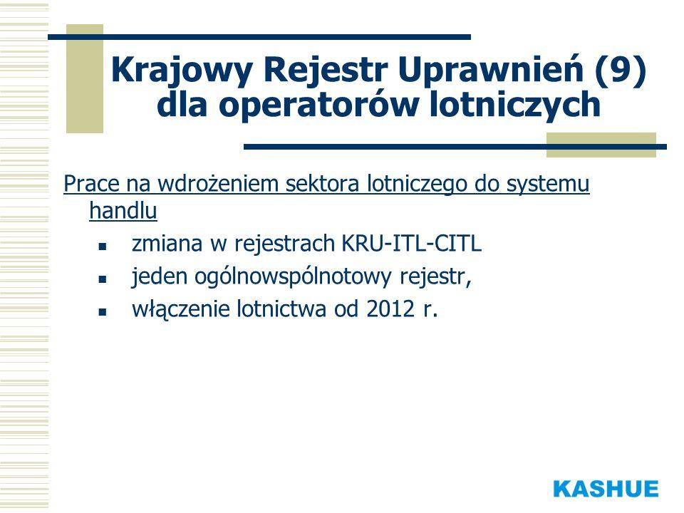 Krajowy Rejestr Uprawnień (9) dla operatorów lotniczych Prace na wdrożeniem sektora lotniczego do systemu handlu zmiana w rejestrach KRU-ITL-CITL jede
