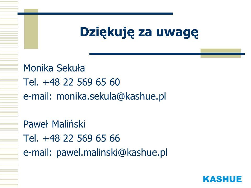 Dziękuję za uwagę Monika Sekuła Tel. +48 22 569 65 60 e-mail: monika.sekula@kashue.pl Paweł Maliński Tel. +48 22 569 65 66 e-mail: pawel.malinski@kash