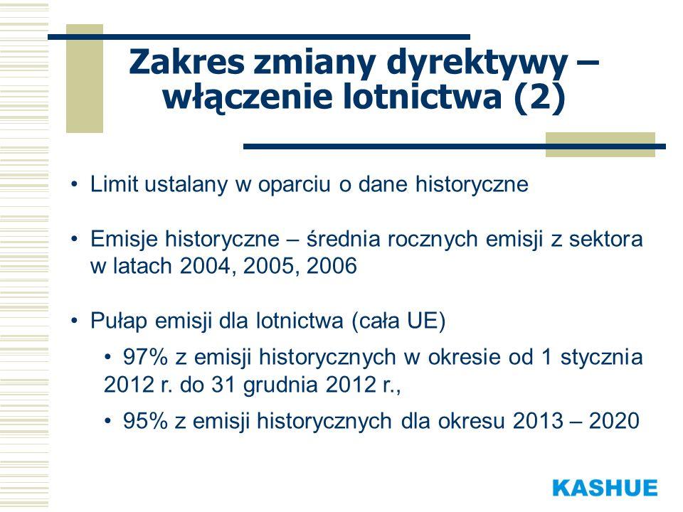 Zakres zmiany dyrektywy – włączenie lotnictwa (3) Rozdział uprawnień przy zastosowaniu metody benchmarkowej opartej o wskaźnik emisyjności odniesiony do aktywności lotniczej w roku bazowym (2010), Część uprawnień wydawana jest w drodze sprzedaży aukcyjnej (15% przydziału), Rezerwa specjalna – 3% historycznych emisji dla nowych oraz szybko rozwijających się operatorów, Potencjalna możliwość wykorzystania jednostek ERU i CER (jednostki mechanizmów JI i CDM, odpowiednio).