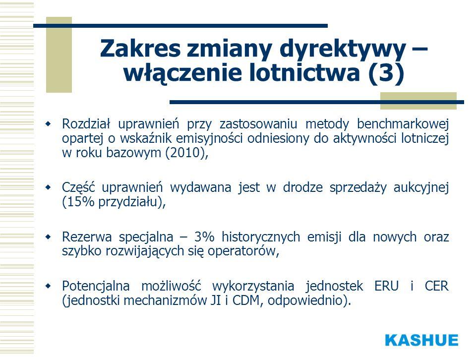 Zakres zmiany dyrektywy – włączenie lotnictwa (3) Rozdział uprawnień przy zastosowaniu metody benchmarkowej opartej o wskaźnik emisyjności odniesiony