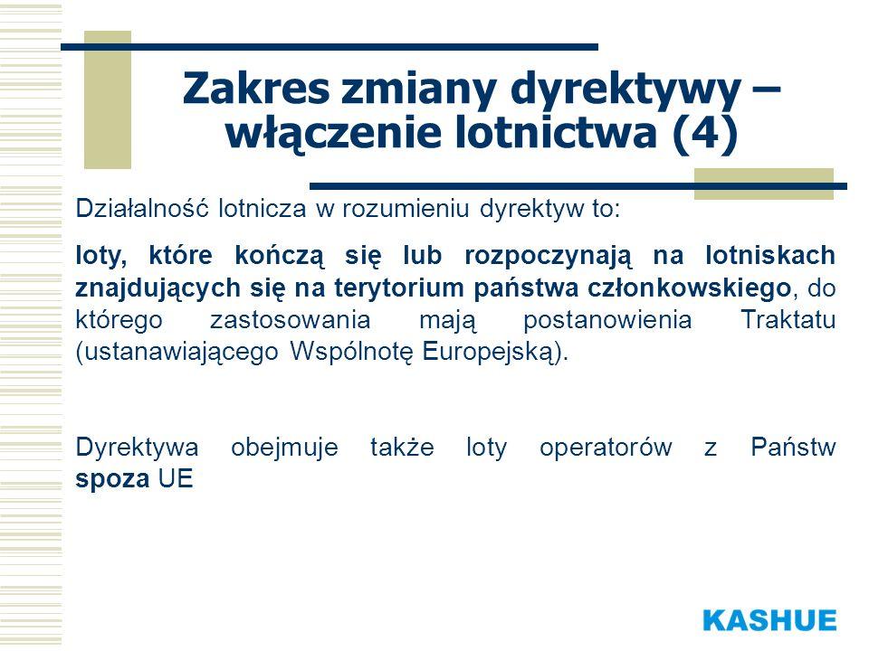 Działalność lotnicza w rozumieniu dyrektyw to: loty, które kończą się lub rozpoczynają na lotniskach znajdujących się na terytorium państwa członkowsk