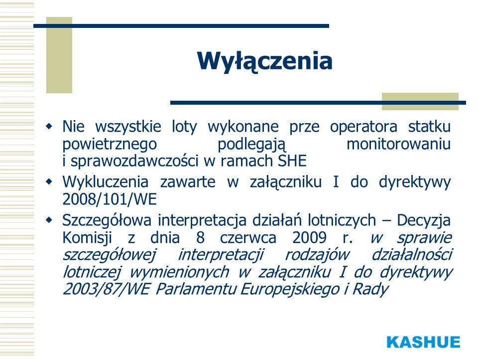 Lista operatorów Komisja sporządziła wstępną listę operatorów statków powietrznych, które powinny zostać objęte systemem wraz z przyporządkowaniem do każdego z nich właściwego państwa administrującego Na liście znajduje się około 2800 podmiotów, z czego około 2400 to bardzo mali operatorzy Polsce wstępnie przyporządkowano 45 podmiotów Prace nad weryfikacją listy w toku.