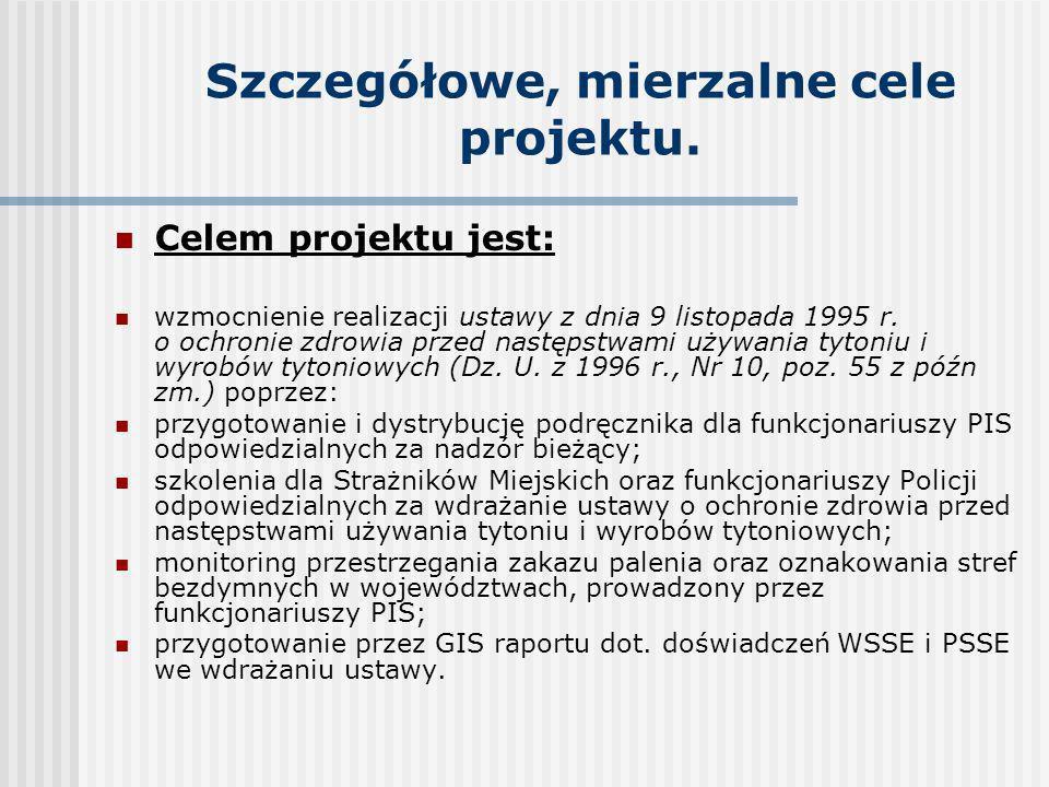Szczegółowe, mierzalne cele projektu. Celem projektu jest: wzmocnienie realizacji ustawy z dnia 9 listopada 1995 r. o ochronie zdrowia przed następstw