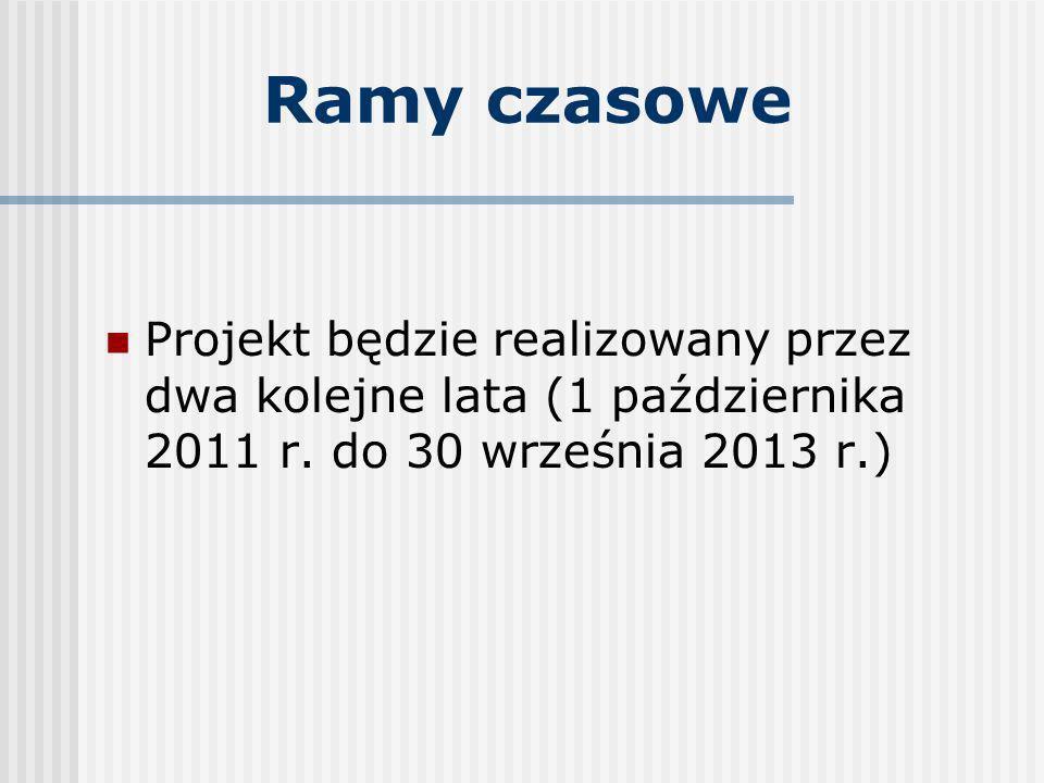 Ramy czasowe Projekt będzie realizowany przez dwa kolejne lata (1 października 2011 r. do 30 września 2013 r.)