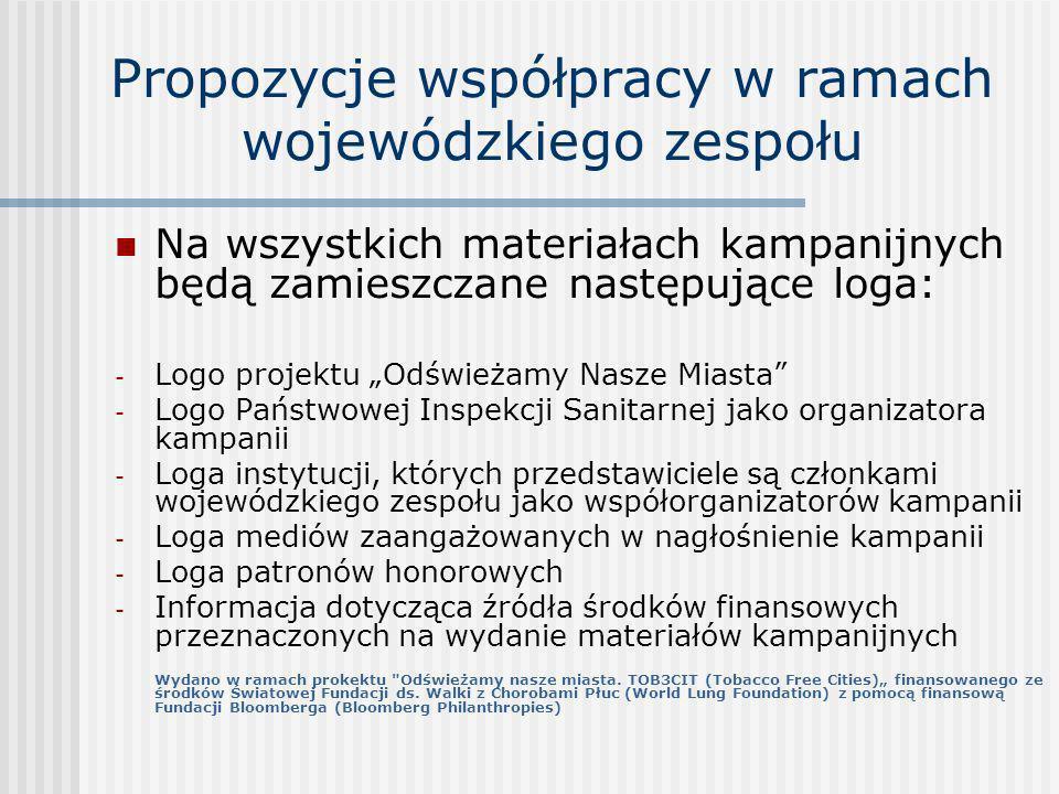 Propozycje współpracy w ramach wojewódzkiego zespołu Na wszystkich materiałach kampanijnych będą zamieszczane następujące loga: - Logo projektu Odświe