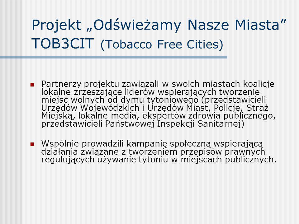 Projekt Odświeżamy Nasze Miasta TOB3CIT (Tobacco Free Cities) Partnerzy projektu zawiązali w swoich miastach koalicje lokalne zrzeszające liderów wspi
