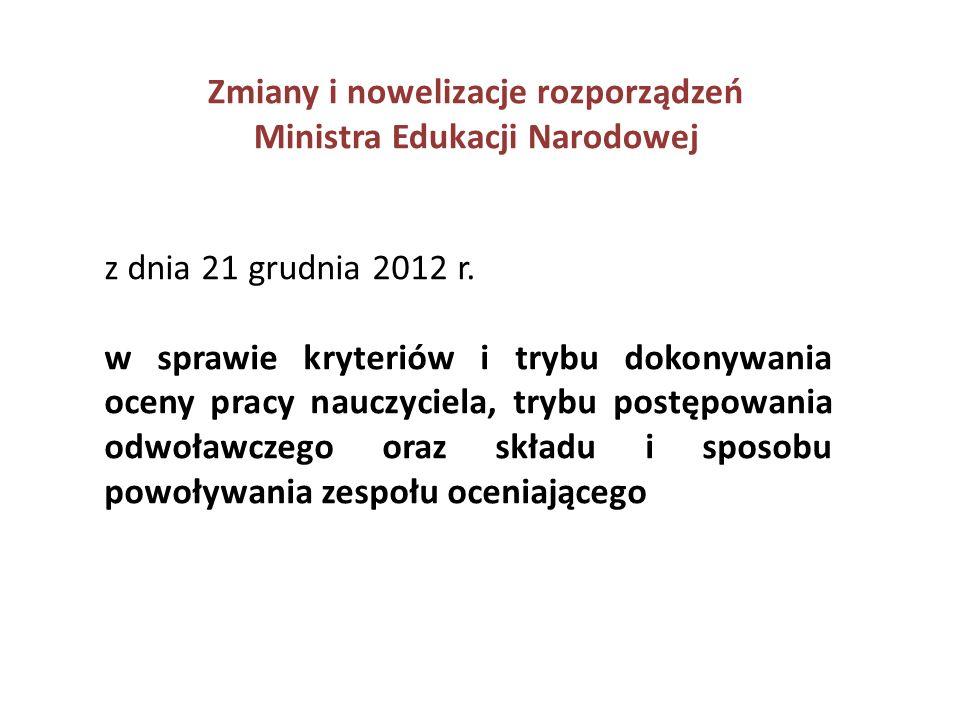 Zmiany i nowelizacje rozporządzeń Ministra Edukacji Narodowej z dnia 1 marca 2013 r.