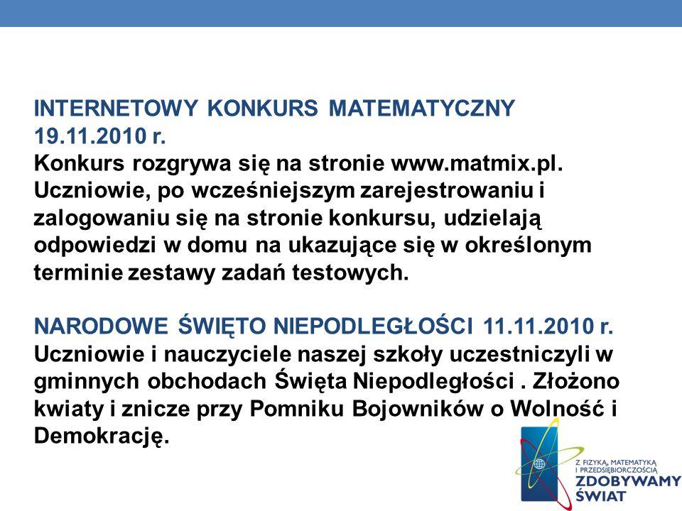 INTERNETOWY KONKURS MATEMATYCZNY 19.11.2010 r. Konkurs rozgrywa się na stronie www.matmix.pl. Uczniowie, po wcześniejszym zarejestrowaniu i zalogowani