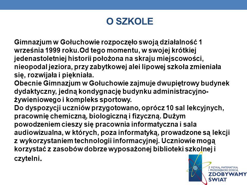 O SZKOLE Gimnazjum w Gołuchowie rozpoczęło swoją działalność 1 września 1999 roku.Od tego momentu, w swojej krótkiej jedenastoletniej historii położon