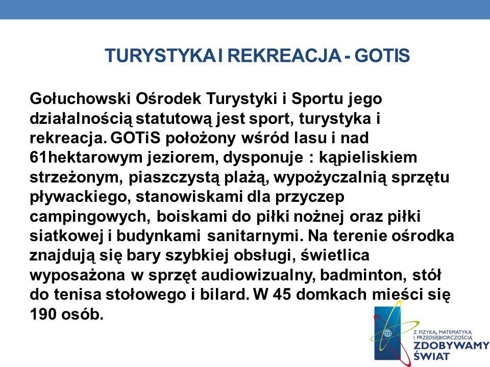 TURYSTYKA I REKREACJA - GOTIS Gołuchowski Ośrodek Turystyki i Sportu jego działalnością statutową jest sport, turystyka i rekreacja. GOTiS położony wś