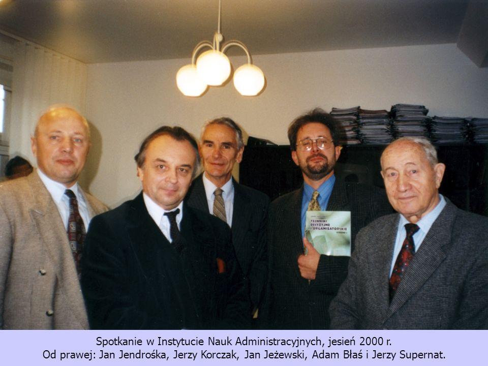Spotkanie w Instytucie Nauk Administracyjnych, jesień 2000 r. Od prawej: Jan Jendrośka, Jerzy Korczak, Jan Jeżewski, Adam Błaś i Jerzy Supernat.
