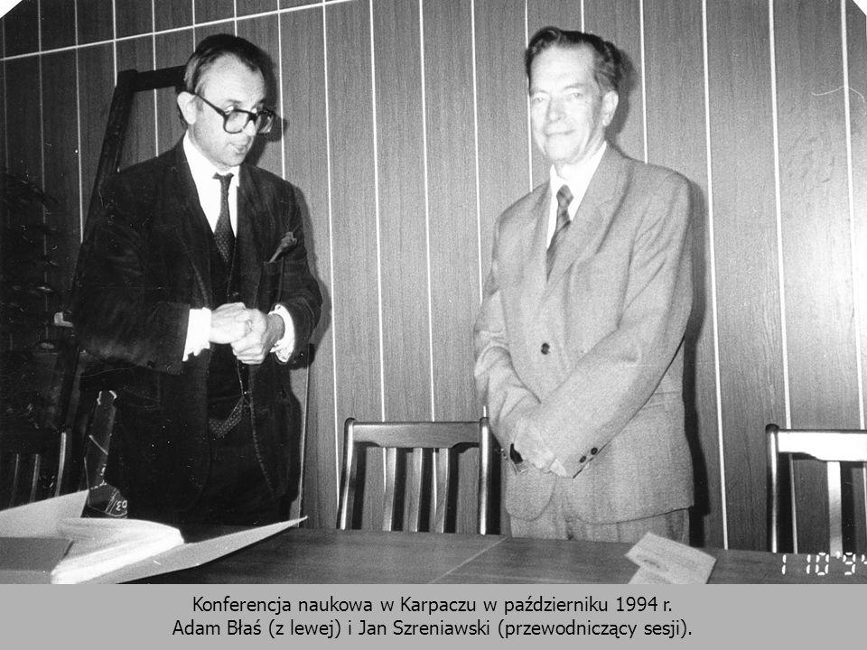 Konferencja naukowa w Karpaczu w październiku 1994 r. Adam Błaś (z lewej) i Jan Szreniawski (przewodniczący sesji).