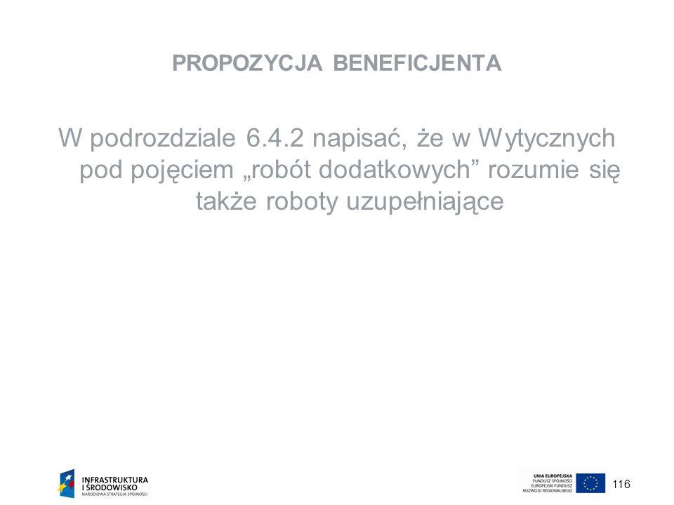 116 PROPOZYCJA BENEFICJENTA W podrozdziale 6.4.2 napisać, że w Wytycznych pod pojęciem robót dodatkowych rozumie się także roboty uzupełniające