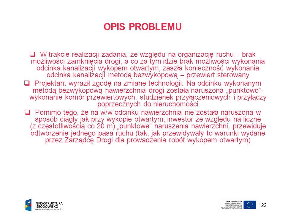 122 OPIS PROBLEMU W trakcie realizacji zadania, ze względu na organizację ruchu – brak możliwości zamknięcia drogi, a co za tym idzie brak możliwości