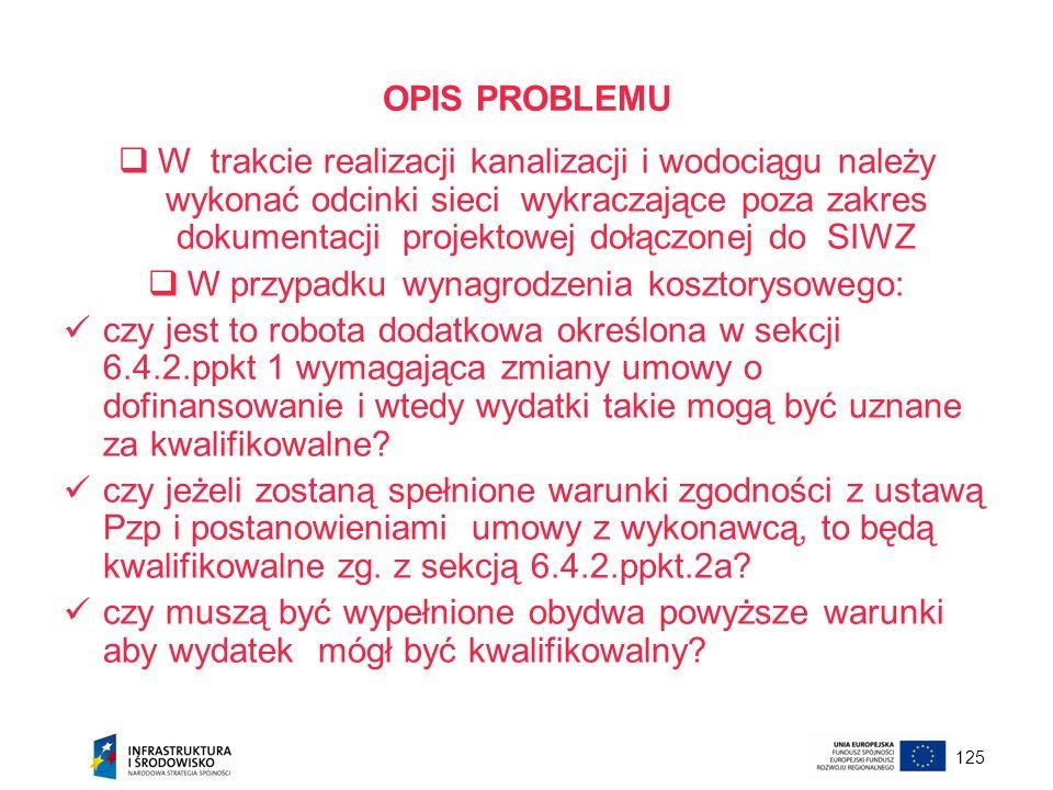 125 OPIS PROBLEMU W trakcie realizacji kanalizacji i wodociągu należy wykonać odcinki sieci wykraczające poza zakres dokumentacji projektowej dołączon
