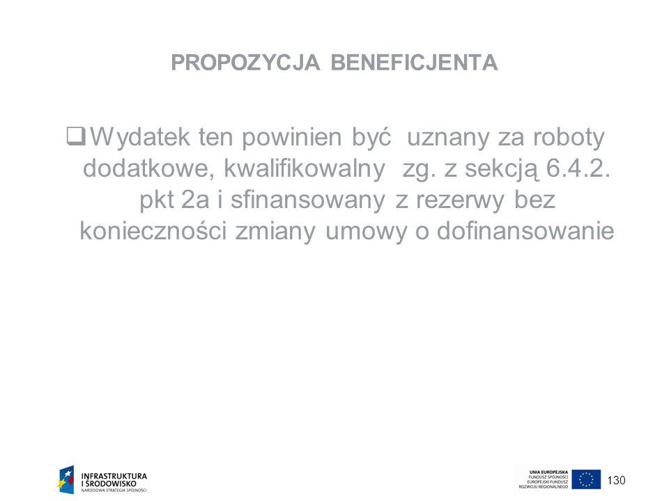 130 PROPOZYCJA BENEFICJENTA Wydatek ten powinien być uznany za roboty dodatkowe, kwalifikowalny zg. z sekcją 6.4.2. pkt 2a i sfinansowany z rezerwy be