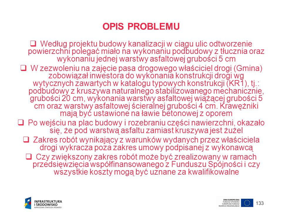 133 OPIS PROBLEMU Według projektu budowy kanalizacji w ciągu ulic odtworzenie powierzchni polegać miało na wykonaniu podbudowy z tłucznia oraz wykonan