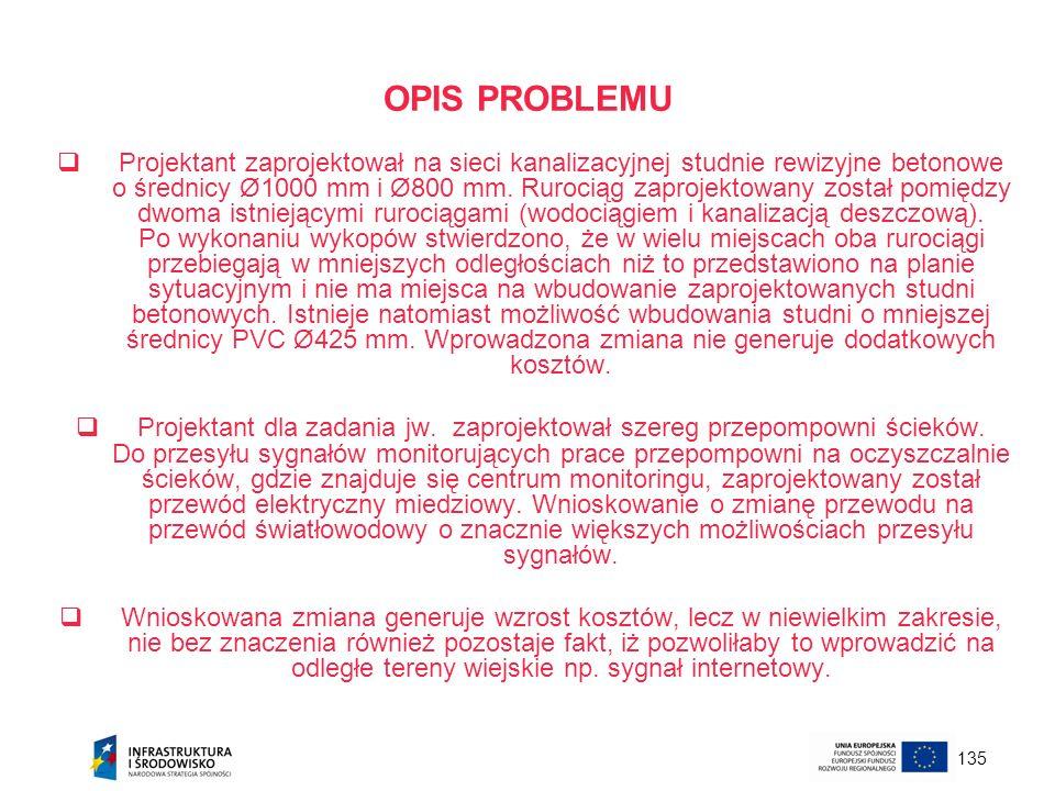 135 OPIS PROBLEMU Projektant zaprojektował na sieci kanalizacyjnej studnie rewizyjne betonowe o średnicy Ø1000 mm i Ø800 mm. Rurociąg zaprojektowany z