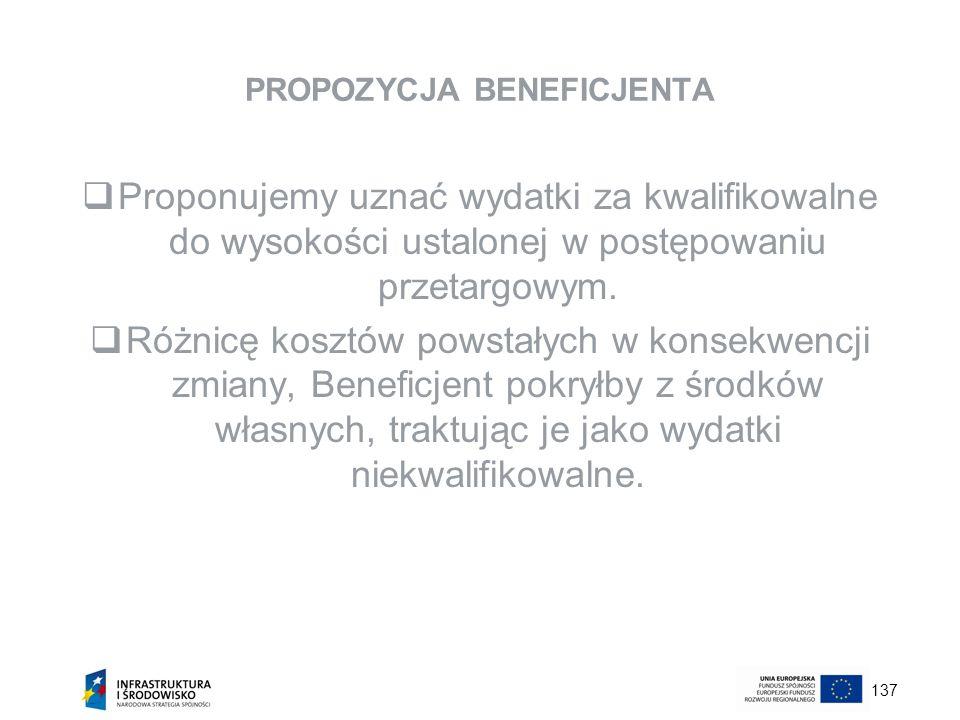137 PROPOZYCJA BENEFICJENTA Proponujemy uznać wydatki za kwalifikowalne do wysokości ustalonej w postępowaniu przetargowym. Różnicę kosztów powstałych