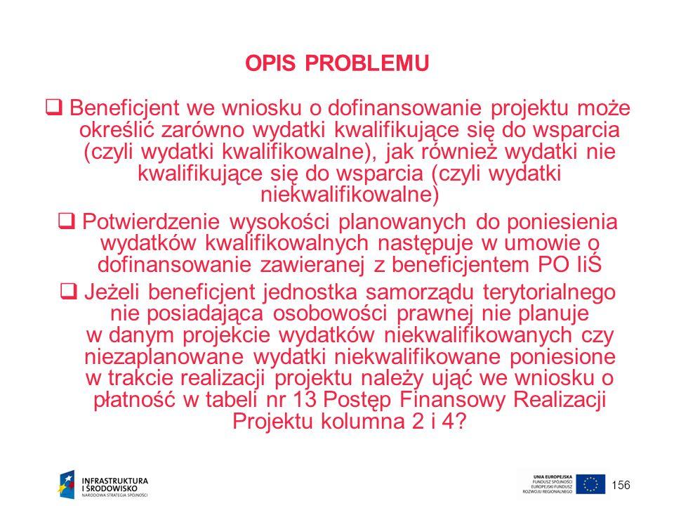 156 OPIS PROBLEMU Beneficjent we wniosku o dofinansowanie projektu może określić zarówno wydatki kwalifikujące się do wsparcia (czyli wydatki kwalifik