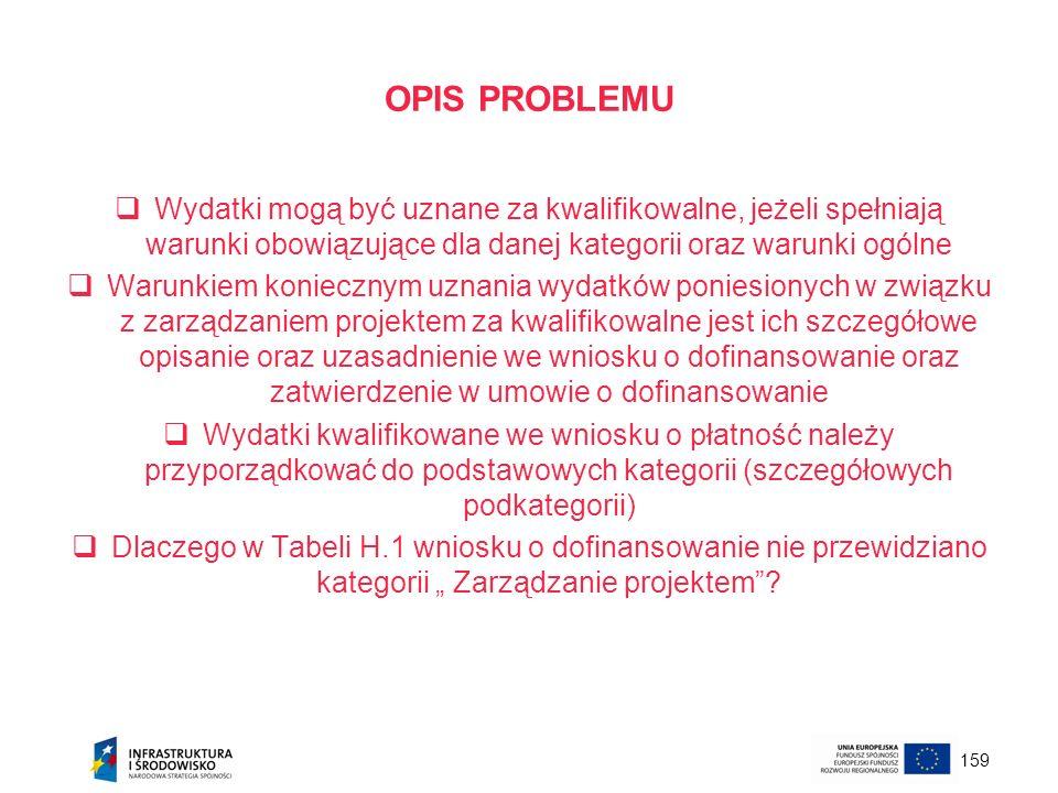 159 OPIS PROBLEMU Wydatki mogą być uznane za kwalifikowalne, jeżeli spełniają warunki obowiązujące dla danej kategorii oraz warunki ogólne Warunkiem k