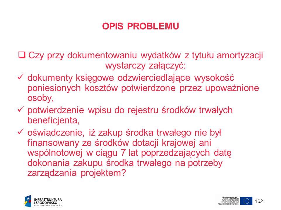 162 OPIS PROBLEMU Czy przy dokumentowaniu wydatków z tytułu amortyzacji wystarczy załączyć: dokumenty księgowe odzwierciedlające wysokość poniesionych