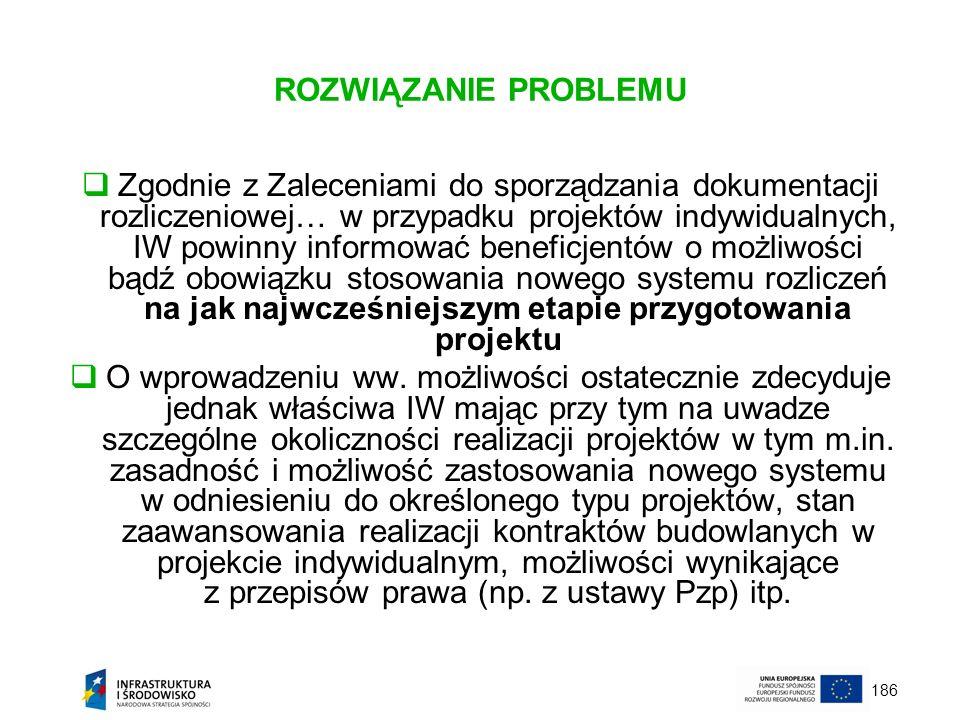 186 ROZWIĄZANIE PROBLEMU Zgodnie z Zaleceniami do sporządzania dokumentacji rozliczeniowej… w przypadku projektów indywidualnych, IW powinny informowa