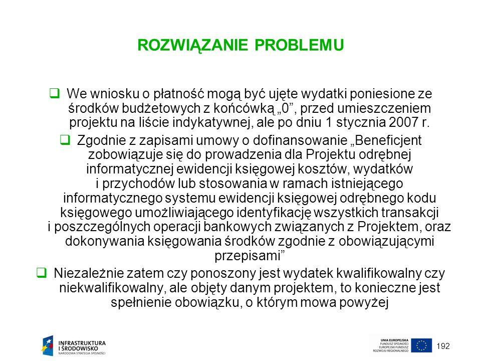 192 ROZWIĄZANIE PROBLEMU We wniosku o płatność mogą być ujęte wydatki poniesione ze środków budżetowych z końcówką 0, przed umieszczeniem projektu na