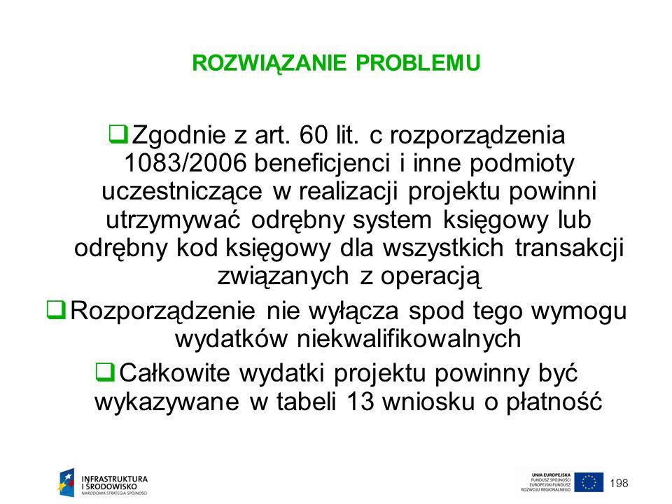 198 ROZWIĄZANIE PROBLEMU Zgodnie z art. 60 lit. c rozporządzenia 1083/2006 beneficjenci i inne podmioty uczestniczące w realizacji projektu powinni ut