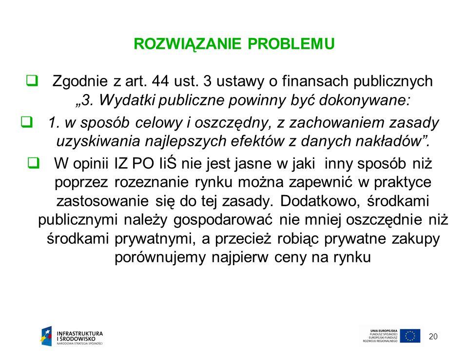 20 ROZWIĄZANIE PROBLEMU Zgodnie z art. 44 ust. 3 ustawy o finansach publicznych 3. Wydatki publiczne powinny być dokonywane: 1. w sposób celowy i oszc