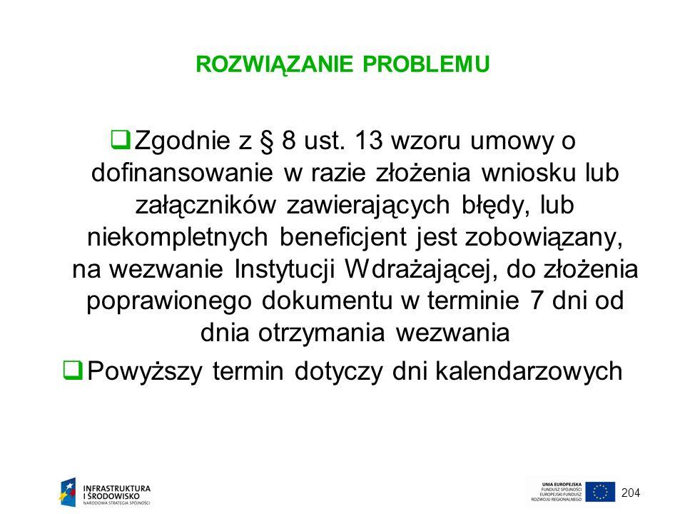 204 ROZWIĄZANIE PROBLEMU Zgodnie z § 8 ust. 13 wzoru umowy o dofinansowanie w razie złożenia wniosku lub załączników zawierających błędy, lub niekompl