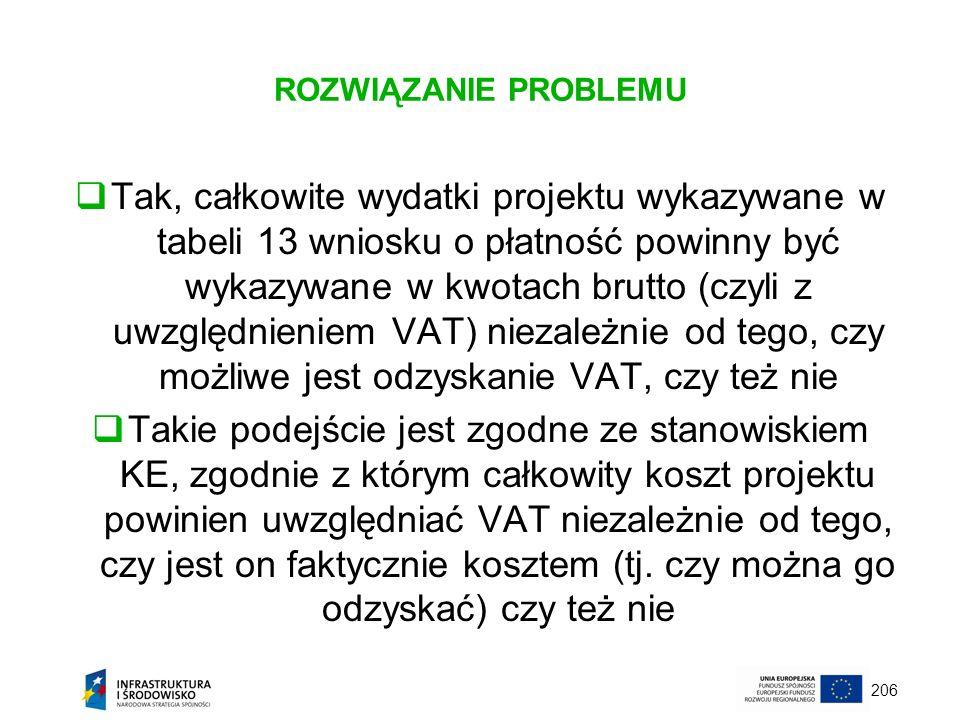 206 ROZWIĄZANIE PROBLEMU Tak, całkowite wydatki projektu wykazywane w tabeli 13 wniosku o płatność powinny być wykazywane w kwotach brutto (czyli z uw