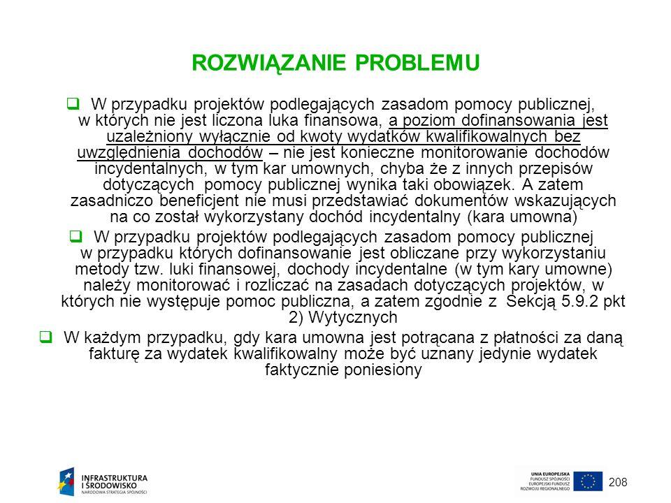 208 ROZWIĄZANIE PROBLEMU W przypadku projektów podlegających zasadom pomocy publicznej, w których nie jest liczona luka finansowa, a poziom dofinansow