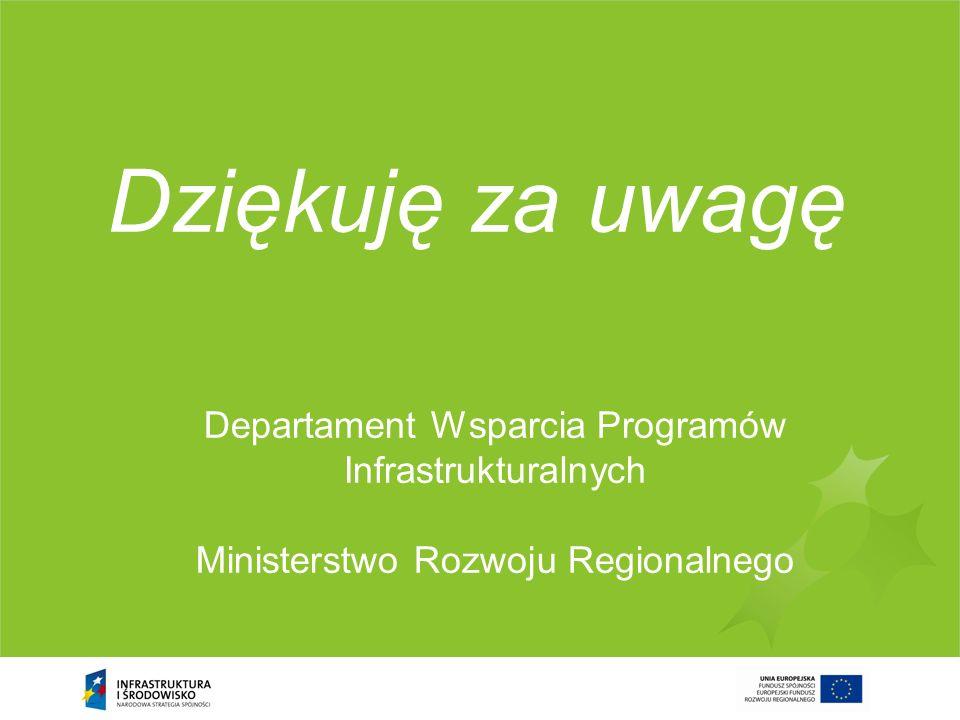 Departament Wsparcia Programów Infrastrukturalnych Ministerstwo Rozwoju Regionalnego Dziękuję za uwagę