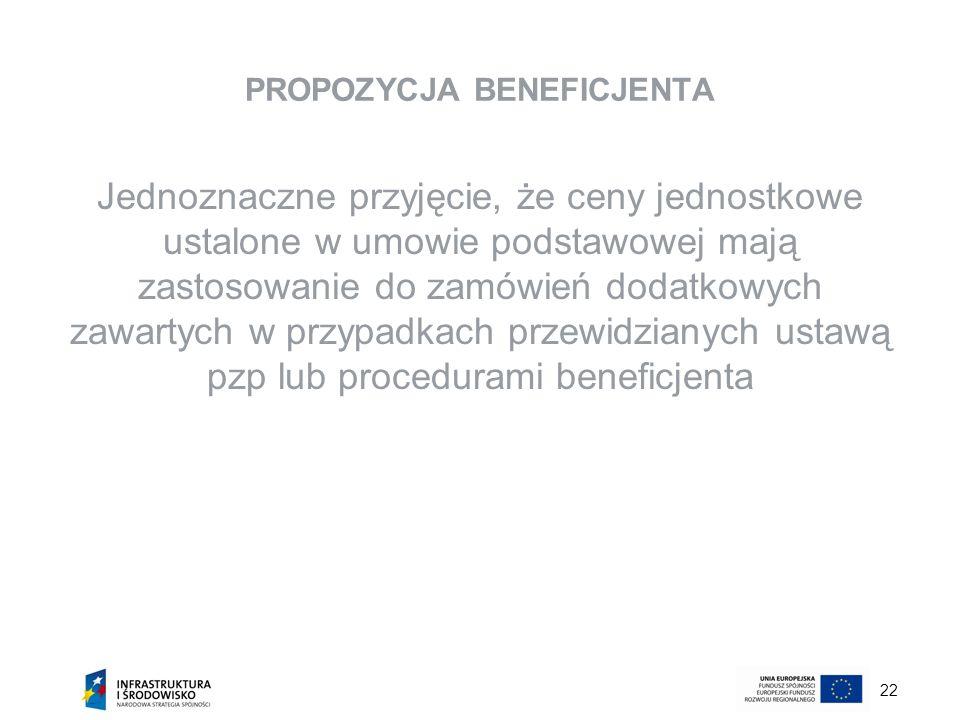 22 PROPOZYCJA BENEFICJENTA Jednoznaczne przyjęcie, że ceny jednostkowe ustalone w umowie podstawowej mają zastosowanie do zamówień dodatkowych zawarty