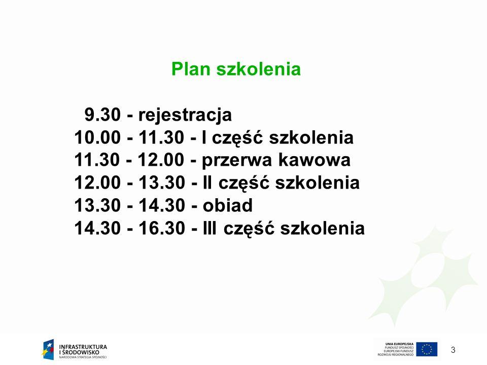 3 Plan szkolenia 9.30 - rejestracja 10.00 - 11.30 - I część szkolenia 11.30 - 12.00 - przerwa kawowa 12.00 - 13.30 - II część szkolenia 13.30 - 14.30