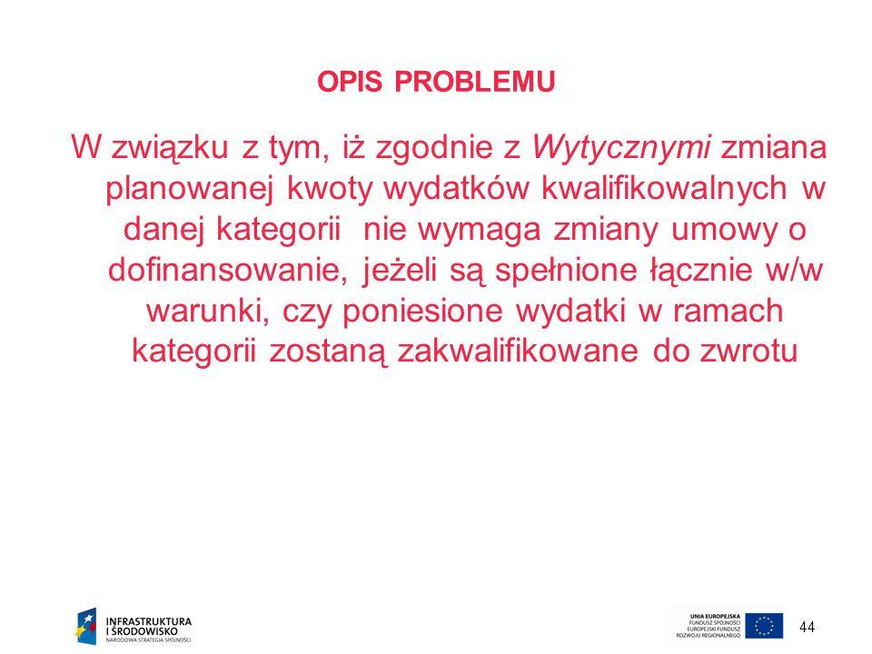 44 OPIS PROBLEMU W związku z tym, iż zgodnie z Wytycznymi zmiana planowanej kwoty wydatków kwalifikowalnych w danej kategorii nie wymaga zmiany umowy
