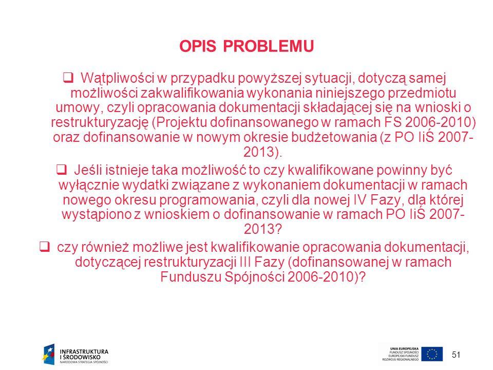 51 OPIS PROBLEMU Wątpliwości w przypadku powyższej sytuacji, dotyczą samej możliwości zakwalifikowania wykonania niniejszego przedmiotu umowy, czyli o
