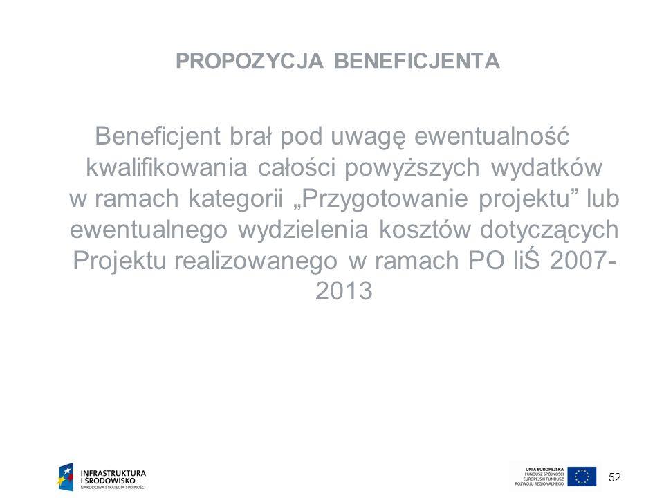 52 PROPOZYCJA BENEFICJENTA Beneficjent brał pod uwagę ewentualność kwalifikowania całości powyższych wydatków w ramach kategorii Przygotowanie projekt