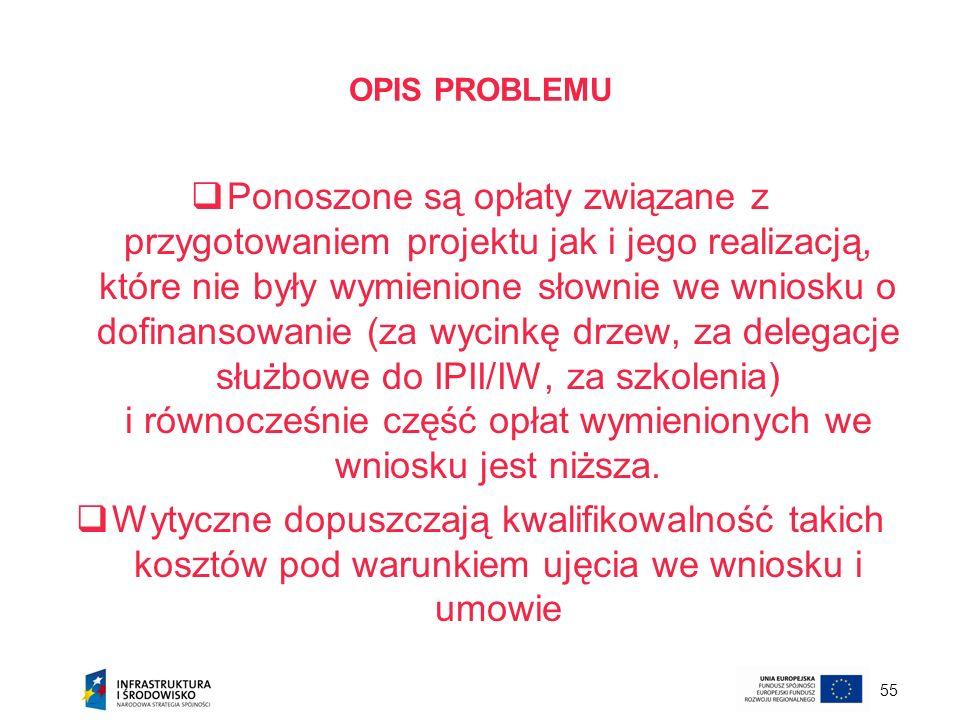 55 OPIS PROBLEMU Ponoszone są opłaty związane z przygotowaniem projektu jak i jego realizacją, które nie były wymienione słownie we wniosku o dofinans